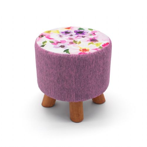 ROUND OTTOMAN FOOTSTOOL FOOTREST POUFFE PADDED CHAIR SEAT STOOL - BLOOM  28 x 28cm